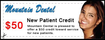 Mountain Dental $50 New Patient Credit Certificate